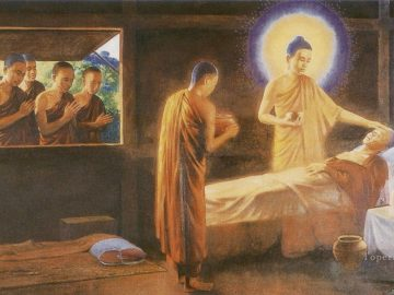 6-buddha-taking-care-of-a-sick-monk-as-a-fraternal-duty-and-model-example-for-his-monks-to-emulate-Buddhism