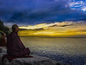 lake-evening-sunset-monk